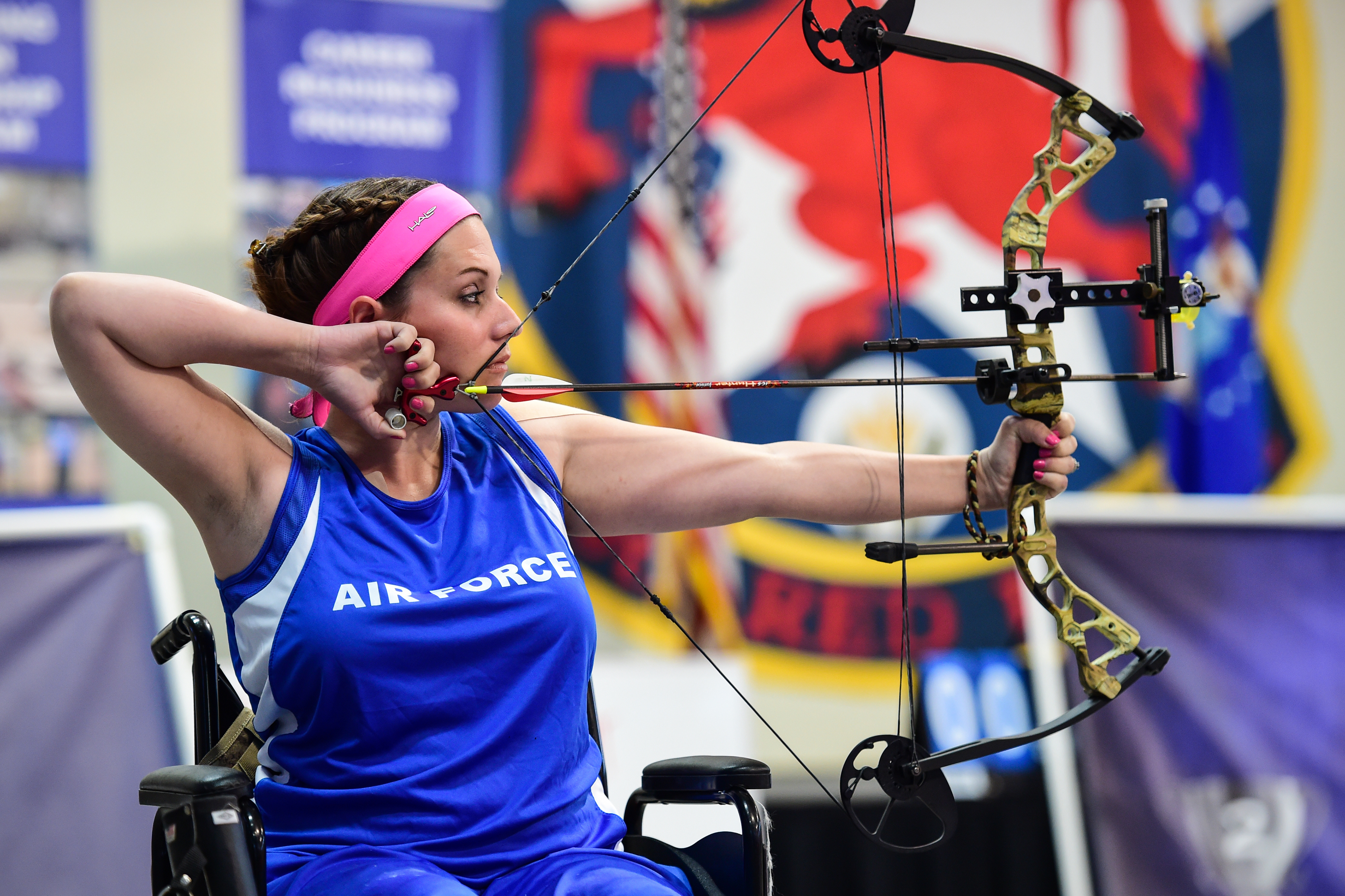 Ashley Crites, Air Force Trials participant, prepares to fire an arrow during the 2016 Air Force Trials at Nellis Air Force Base, Nev., Feb. 29. The Air Force Trials are an adaptive sports event designed to promote the mental and physical well-being of seriously wounded, ill and injured military members and veterans. More than 100 wounded, ill or injured service men and women from around the country will compete for a spot on the 2016 Warrior Games Team which will represent the Air Force at the US Military Academy at West Point in June. (U.S. Air Force photo by Senior Airman Taylor Curry/Released)