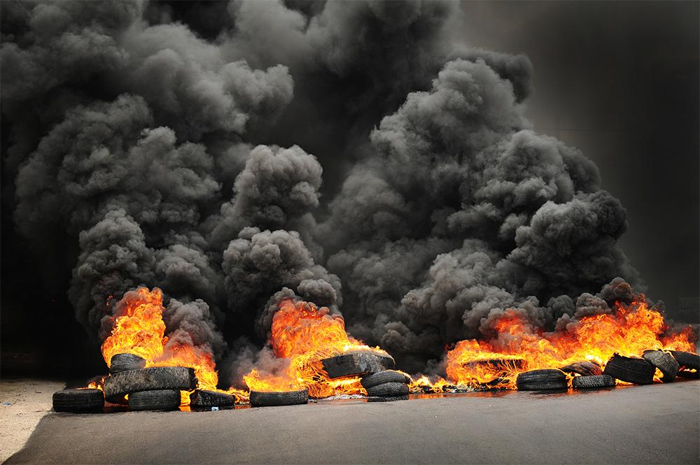 Burning tires.