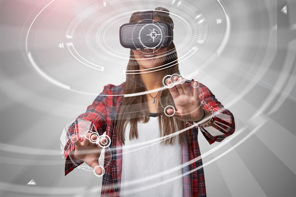 A woman using virtual reality.